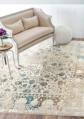 Persian-Rugs 6495 Distressed Cream 8x10 Area Rug Carpet Large New (Rugs Wool Area Neutral)
