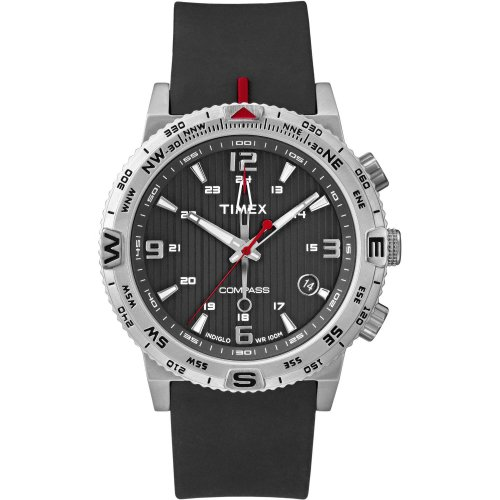 (Timex Men's Adventure Series Compass Black Silicone Strap Watch 42mm T2P85AB)