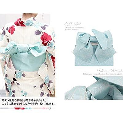 レディース浴衣セット[浴衣/作り帯] bonheur saisons 白系 アイボリー 赤 水色 花柄 縞 ラメ 綿麻 浴衣セット 女性 フリーサイズ