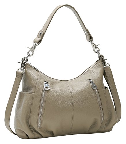 Heshe Women's Leather Shoulder Handbags Cross Body Bags Hobo Totes Top Handle Bag Satchel and Purse for Ladies (Light Grey-H) Leather Small Hobo Bag