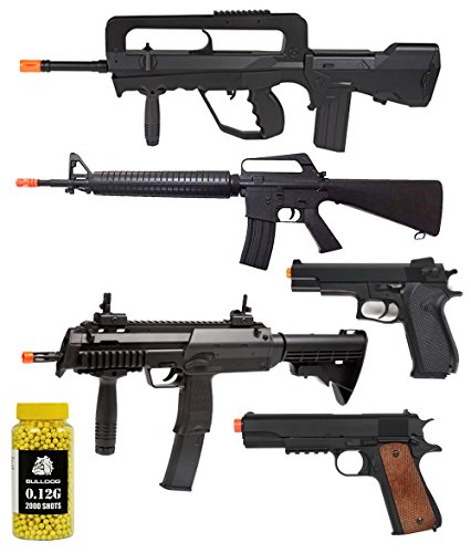 A&N Airsoft Gun Package of 6 - Fully Automatic Electric Mini Airsoft Rifle - 2 x Spring Action Airsoft Rifles - 2 x Airsoft Sping Hand Pistol Airsoft 2000 Bulldog (Fully Automatic Pistol)