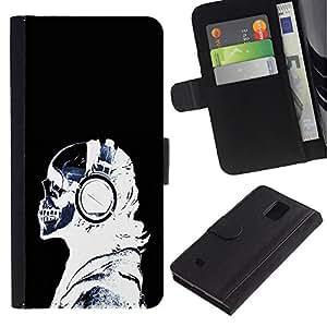 iKiki Tech / Cartera Funda Carcasa - Headphones Skeleton Art Bones Profile Portrait - Samsung Galaxy Note 4 SM-N910