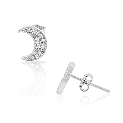 3bc337e7a Image Unavailable. Image not available for. Color: 925 Sterling Silver CZ  Half-Moon Crescent Womens Girls Small Stud Earrings