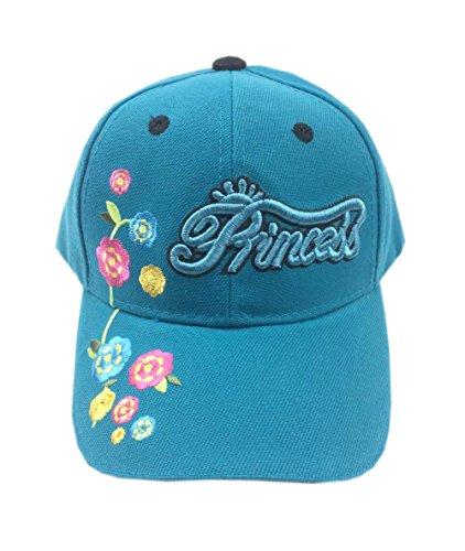 Aesthetinc Embroidered Princess Flowers Junior Kid's Baseball Cap Hat (Teal 1)