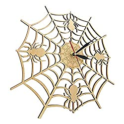 llsmting Wall Clocks for Living Room Modern Cob Web in Natural Wood Halloween Nightmare Creepy Spider Wooden Onyx Man Cave Home Decor Gift(12 inch) Beautiful