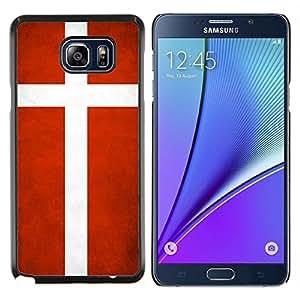 KLONGSHOP // Cubierta de piel con cierre a presión Shell trasero duro de goma Protección Caso - Nacional bandera de la nación País Dinamarca - Samsung Galaxy Note 5 5th N9200 //