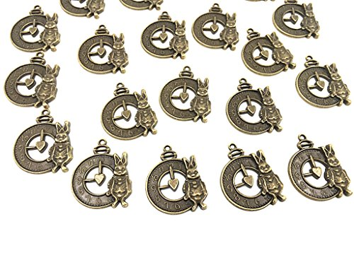 20pcs Rabbit Clock and Watch Dial Face Charm pendant for DIY Necklace Bracelet Jewelry Making Findings By Alimitopia(Antique Bronze) ()