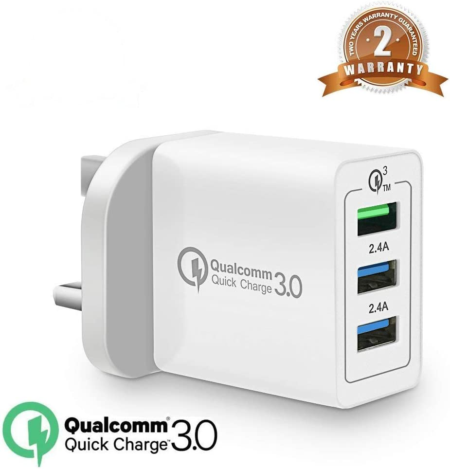 Quick Charge3.0 30W USB Wall Charger,3 port Travel Wall Fast Charger Adapter QC2.0 Block Plug Smart Ports Plug for