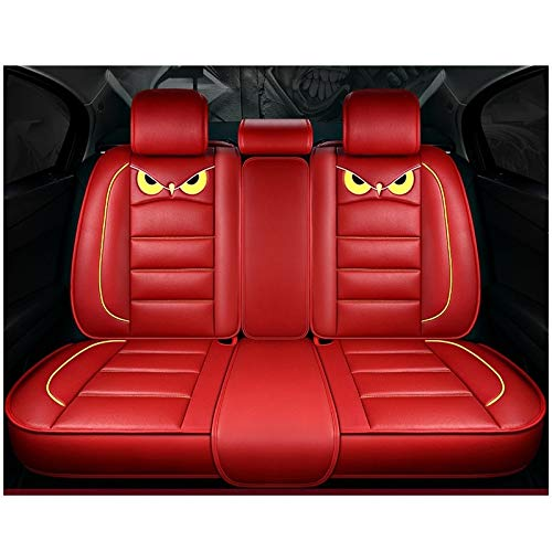 ODEER Seat Covers 5 Seats Cars PU Leather Series Universal Fit Full Set Seat Covers Protectors Red