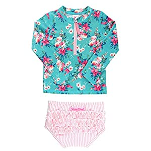 RuffleButts Baby/Toddler Girls Long Sleeve Rash Guard 2 Piece Swimsuit Set w/UPF 50+ Sun Protection with Zipper