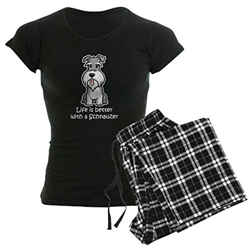 (CafePress Life is Better with A Schnauzer Dark Womens Novelty Cotton Pajama Set, Comfortable PJ Sleepwear)