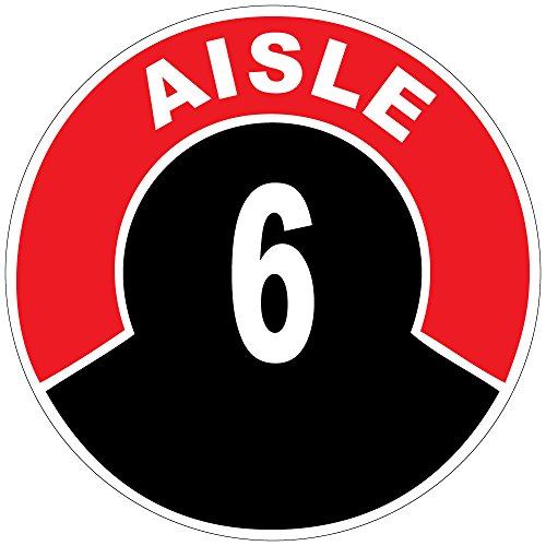 Aisle 6 Red Black Anti-Slip Floor Sticker Decal 17 in longest side (Store Aisle Signs)