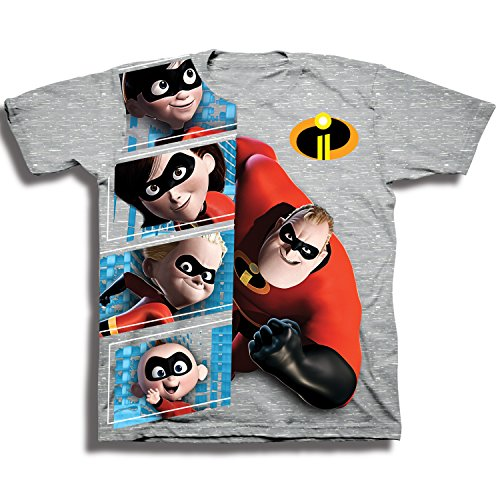 Disney Toddler Kids The Incredibles 2 Character Panel Short Sleeve T-Shirt, Heather Grey, 3T