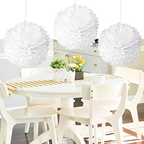 HEARTFEEL 8pcs White Color Tissue Paper Pom Poms Flower Ball