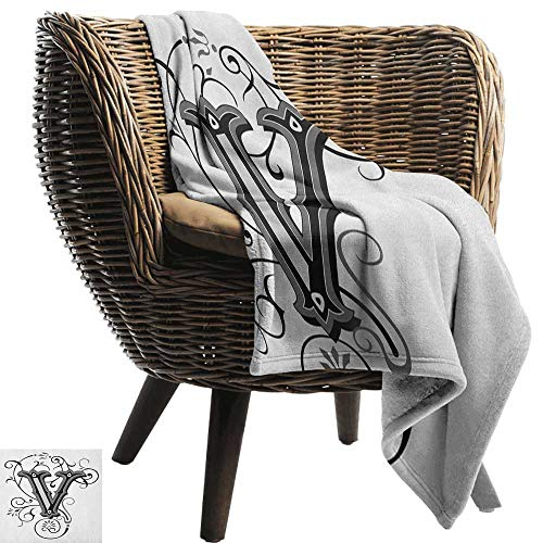 AndyTours Flannel Throw Blanket,Letter V,Gothic Halloween Style Uppercase V with Curved Lines Ivy Stripes Calligraphy, Black Grey White,Winter Luxury Plush Microfiber Fabric 70
