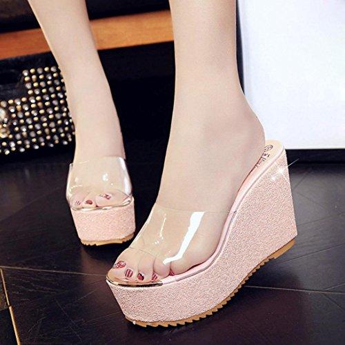 Calzado de mujer,Amlaiworld Las mujeres cubren con los mocasines de las sandalias de los flips-flopes Rosa