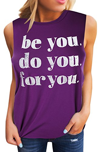 Best Graphic Work Tee (Umeko Womens Graphic T Shirts Funny Tees Crew Neck Sleeveless Workout Tank Tops with Sayings (Large, Z-Purple))