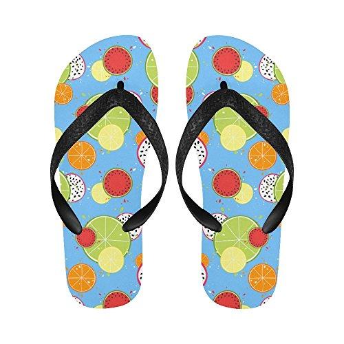 INTERESTPRINT Men Flip Flop Slippers Juicy Lemon Watermelon Fruit Beach Thong Sandal