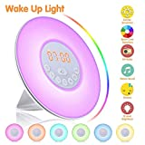 Wake Up Light Alarm Clock SOLMORE Electronic Digital Clock Bedside Lamp 6 Nature Sounds Dimmable 7 Colors LED Night Light With Touch Control Sunrise Sunset Simulation Snooze Function FM Radio for Kids Bedroom (UK plug)