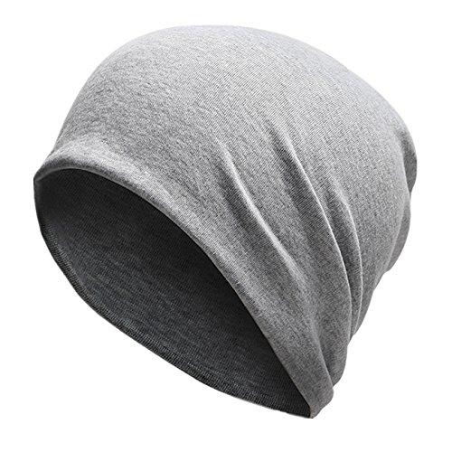 Home Prefer Men's Slouchy Beanie Soft Cotton Long Beanie Sleep Beanie Light Gray