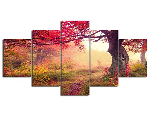 Autumn Home Decor Extra Large Canvas Print Fall Paintings 5 Panel Framed Modern Landscape Wall Picture for Living Room Posters and Prints Gallery-wrapped Artwork Stretched Ready to Hang(60''Wx40''H)