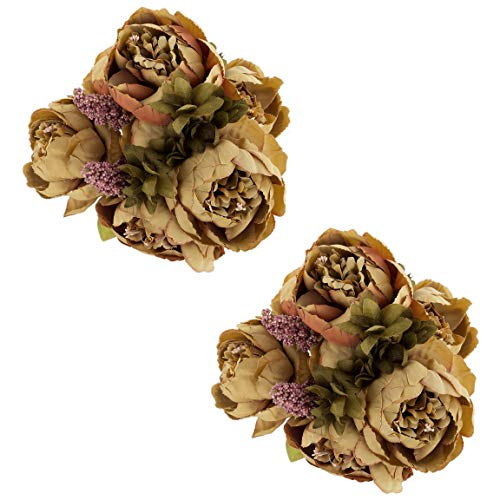 EZFLOWERY 2 Pack Artificial Peony Silk Flowers Arrangement Bouquet for Wedding Centerpiece Room Party Home Decoration, Elegant Vintage, Perfect for Spring, Summer and Occasions (2, Coffee)