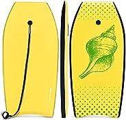 Goplus Super Lightweight Bodyboard, 37-41 inch Body Board with EPS Core, XPE Deck, HDPE Slick Bottom and Premi