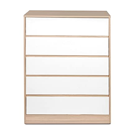 HomeTown Ambra Chest of 5 Drawers (Teak and White)