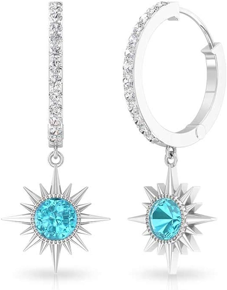 Aretes de gota de topacio azul de 0,54 ct, certificado IGI, pendientes de aro, IJ-SI, claridad de color, pendientes de boda de diamantes, con clip.