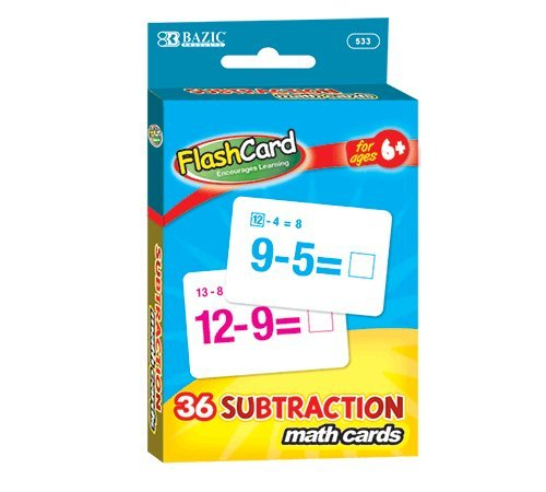 Bazic Products 533-24 Subtraction Flash Cards 36 Count