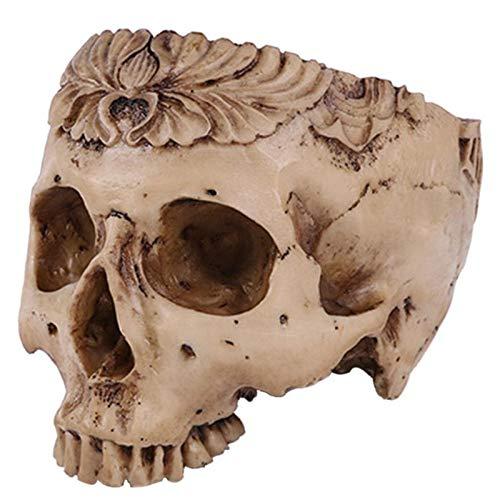 Head Planter – Human Skull Head Flower Pot Planter Skull Container Resin Replica Skull Halloween Accessory Home Bar Decor