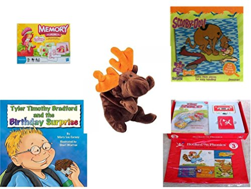 Children's Gift Bundle - Ages 3-5 [5 Piece] - Strawberry Shortcake Edition Memory Game - Scooby Doo & Shaggy 24 Piece Puzzle Toy - Ty Beanie Baby - Chocolate The Moose - Tyler Timothy Bradford and t - Tyler Beanie