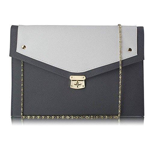Trendstar mujeres diseñador exterior grande embrague Bolso de mano para mujer, diseño de perfume Soir duro caso Bolsa de hombro Gris - Gris/Blanche