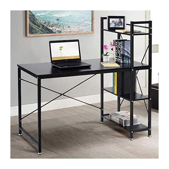 "Tangkula 47.5"" Computer Desk, Modern Style Writing Study Table with 4 Tier Bookshelves, Home Office Desk, Compact Gaming Desk, Multipurpose PC Workstation - 【Spacious Desktop & Ample Storage Shelves】 Our Tangkula computer desk comes with an ample desk surface and an additional three opening shelves. The large full-size workstation provide ample storage to lay your books, papers, documents, laptop on the spacious tabletop. And you can put some books, plants or printer on the 4-tier shelves. It can totally maximize the daily working and reading enjoyment. 【Durable & Sturdy Construction】 The Tangkulawriting desk is constructed by high quality MDF board and iron tube, the iron tube frame offers large weight capacity, the desk can hold about 250lbs. "" X"" style design provides more support and ensures stable and durable. It provides enough durable and skin-friendly work surface and lets you spread out comfortably. 【Compact Practical Style & Multifunction 】 This Tangkula computer desk comes in simplistic color, the color will be suit for any decor. The appearance is compact, simple and practical. The table can be placed in your home study, bedroom and office to serve as a computer desk, office workstation, study stable, writing or gaming desk. - writing-desks, living-room-furniture, living-room - 51Thp vvGjL. SS570  -"