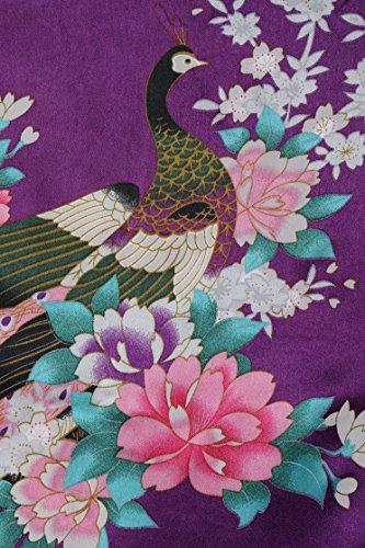 de Pijama Real Estampado de ArtiDeco de Seda Vestido Seda Satén Pavo Oscuro de Púrpura Kimono Kimono Novia dormir Ropa Hqqv1E
