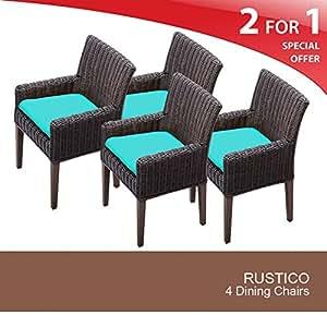 TKC Venice Wicker Patio Arm Dining Chairs in Aruba (Set of 4)