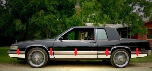 Made in USA! Works with 1989-1990 Cadillac Deville Coupe Rocker Panel Trim Body Side Moulding 7