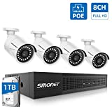 【8CH Full HD】 PoE Home Security Camera System,SMONET NVR Surveillance System with 1TB Hard Drive,4pcs Onvif Indoor Outdoor Full HD IP Cameras,Waterproof NVR Kits,Night Vision,Free Remote View