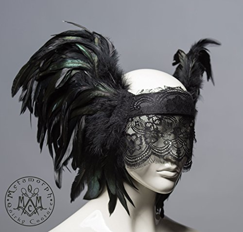 Black lace veil headdress / Feather masquerade