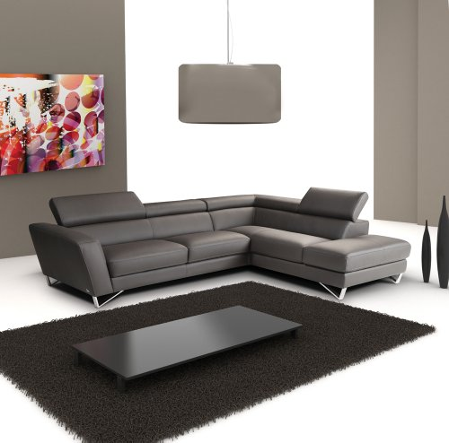(J&M Furniture Sparta Full Grey Italian Leather Sectional Sofa With Adjustable Headrests)