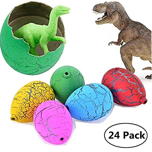 Jofan 24pcs Novelty Magic Large Size Crack Easter Dinosaur Eggs Hatching Toy with Mini Toy Dinosaur Figures Inside for Kids Stocking Stuffers ()