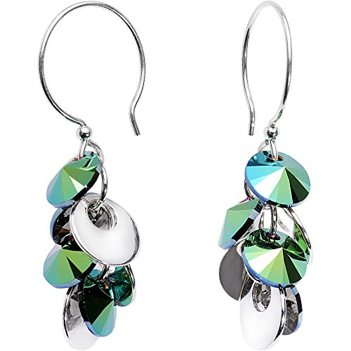 (Body Candy Handcrafted 925 Silver Green Cascade Earrings Created with Swarovski Crystals)