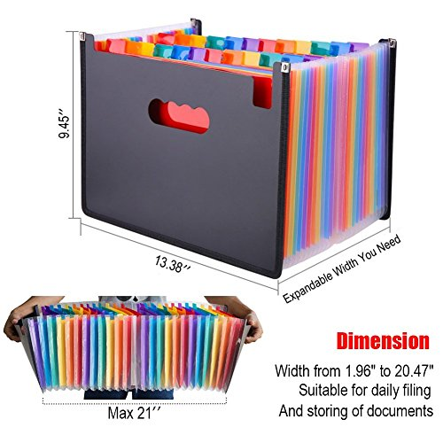 Expanding File Folder 24 Pockets Multi-Color Accordion Files Box A4 Document Organizer with Expandable Wallet Stand – Works on Legal Size and Letter Size by Huztl Photo #5