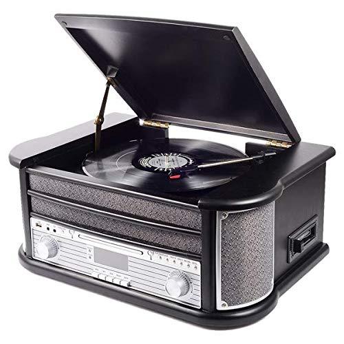 Denver MRD-51 Black Retro platenspeler – DAB-digitale radio – cd-speler en cassettes – directe opname via USB-platen, cd…