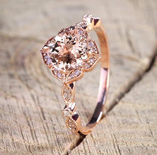 1.25 Carat Antique Design Round cut Morganite and Diamond Engagement Ring for Women In Rose - Antique Rose Rings Gold