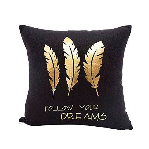 Happy Valentine FimKaul Gold Foil Printing Pillow Case Sofa Waist Throw Cushion Cover Home Decor