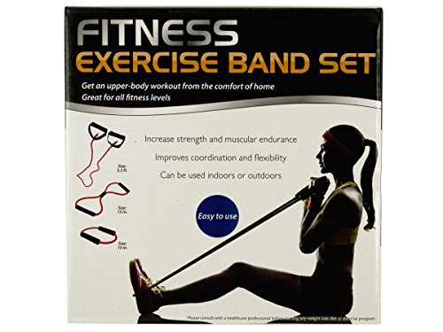 Bulk Buys Fitness Exercise Band Set with Storage Bag - Pack of 2