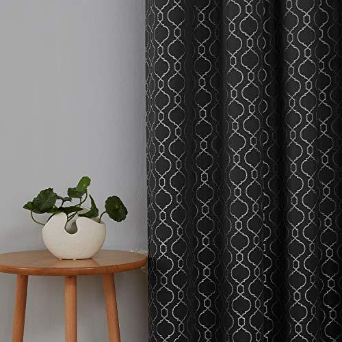 Deconovo Decorative Room Darkening Curtains Textured Jacquard Moroccan Curtains for Bedroom 52 x 72 Black, Set of 2 (Moroccan Bedroom)