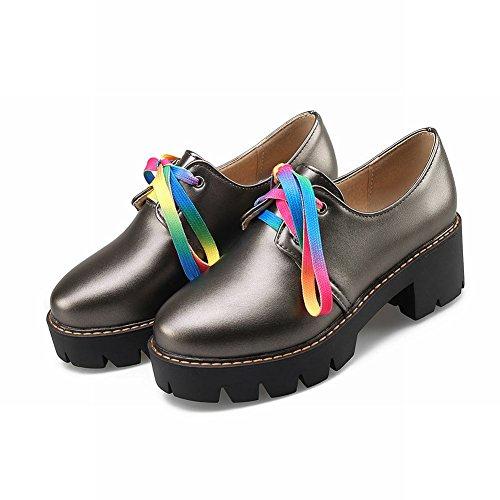 Charme Pied Femmes Mode Coloré Lacets Chunky Plateforme Oxford Chaussures Couleur De Pistolet