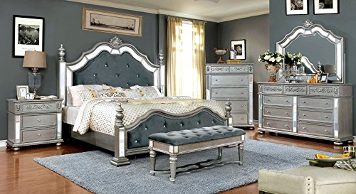 Azha Collection Glamorous Look Traditional Silver Finish Gray Padded Fabric Eastern King Size Bed Tufted HB FB Matching Dresser Mirror Nightstand Formal Bedroom Furniture 4pc Set